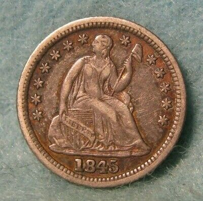 1845 Seated Liberty Silver Half Dime XF * US Coin