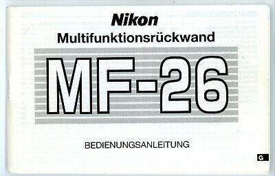 NIKON Bedienungsanleitung MULTIFUNKTIONSRÜCKWAND MF-26 User Manual (Y659