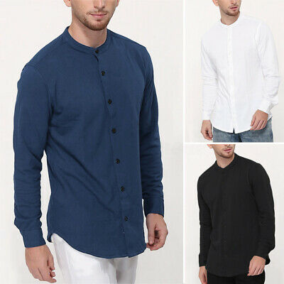 100%Cotton Men's Casual Long Sleeve Henley T Shirt Basic Tee Tops Blouse Shirts
