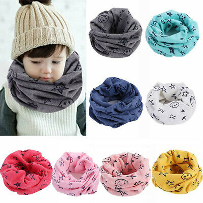 Kids Winter Warm Neckerchief Scarf Baby Boy Girl Smiling Face Cotton Snood Scarf