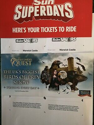 Warwick Castle x 2 E-Tickets Sunday 13 October 2019