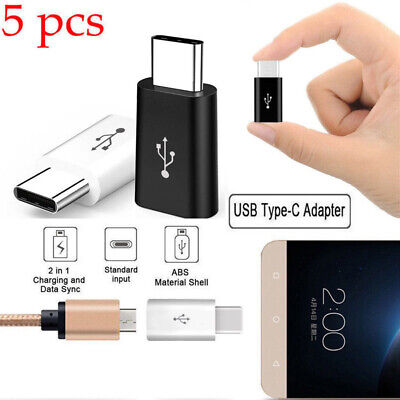 5Pack USB 3.1 Type C Male to Micro USB Female Adapter Converter Connector USB-C