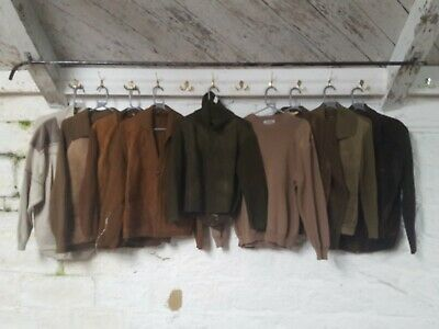Job Lot Vintage Wool Mix Military Suede Shooting Jumper Cardigan Knit J895