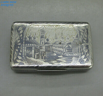Antique Imperial Russian Good Solid Silver & Niello Snuff Box F.i Moscow 1842