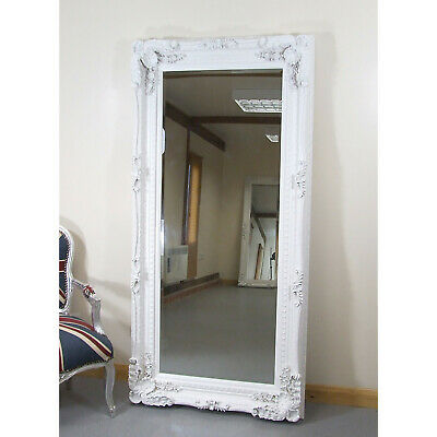 """Louis Large Ornate Carved French Frame Wall Leaner Mirror White - 35"""" x 69"""""""