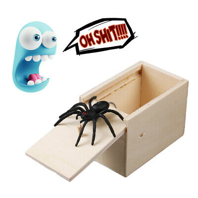 Wooden Prank Spider Worm Scare Box Funny Practical Joke Gag Trick Terror Toys UK
