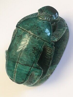 Antique Egyptian Scarab Amulet Unusual Turquoise Glazed Faience Heiroglyphics
