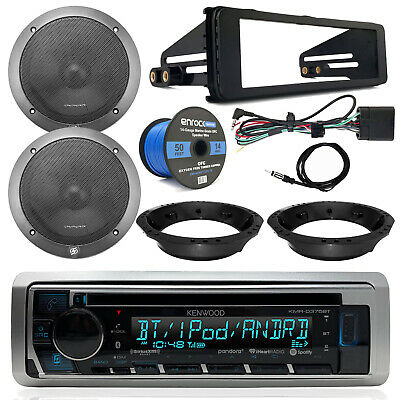 "98-13 Harley Kenwood Bluetooth Receiver, 6.5"" Speakers, Speaker Wire, Dash Kit"