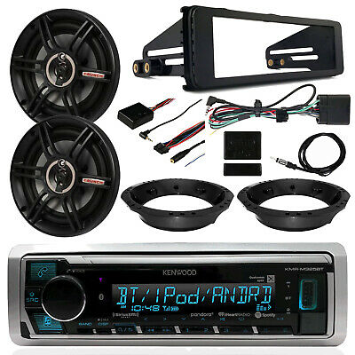 "98-13 Harley: Kenwood Receiver, 6.5"" Crunch Speakers, Thumb Controls, Dash Kit"