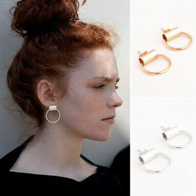 Women's Valentine's Day Golden Silver Plated Hollow Hoop Circle Round Earrings