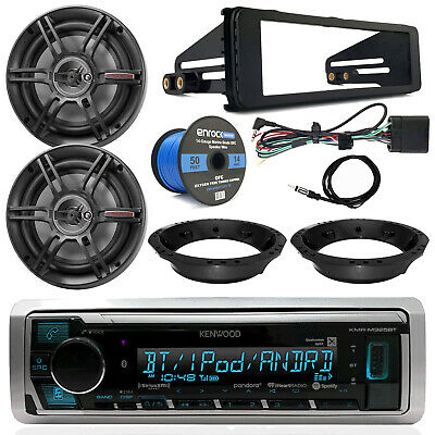 "98-13 FL Touring Kenwood Receiver, 6.5"" Crunch Speakers, Speaker Wire, Dash Kit"
