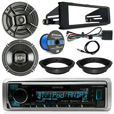 "Kenwood Receiver, Polk 6.5"" Speakers, Speaker Wire,98-13 Harley Touring Dash Kit"