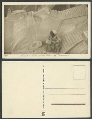 Egypt Old Postcard Head of The Statue of Rameses II MEMPHIS, Native Egyptian Boy