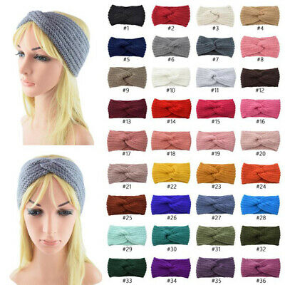 Women Girl Winter Wool Cross Crochet Knitted Headband Hair Band Warmer Headpiece