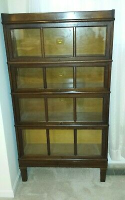 MAHOGANY MACEY STACKING BARRISTER BOOKCASE 4 SECTIONS w PANEL DOORS
