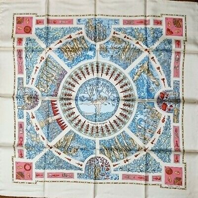 HERMES Carre 90 SCARF 100% Silk Beige-Pink Authentic Made in FRANCE NEW