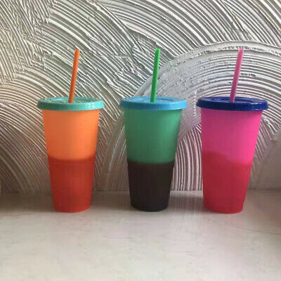 Color Changing Cups | 24 ounces Starbucks-Style | W/ Lids and Straws