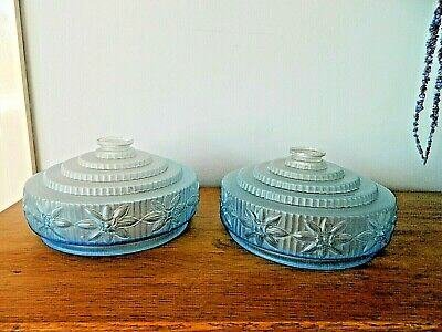 Pair of Lovely  French Blue Glass Embossed Stepped Art Deco Lamp/Light Shades