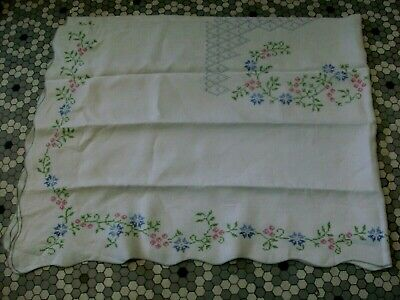Vintage Linen Tablecloth with Pink & Blue Cross Stitch Floral Embroidery 66 x 92