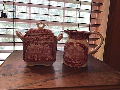 Masons Vista Pink Red Biscuit Sugar Jar Bowl & Syrup Creamer Pitcher