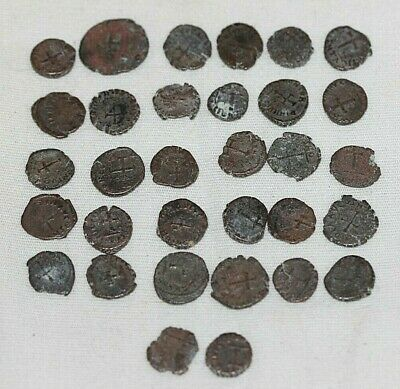 Lot of (32) Ancient Roman Coin 400AD Concordia ? Cross on Reverse