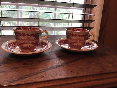2 Vintage Masons Pink Red Vista Demitasse Cups And Saucers