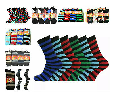 12 Pairs Mens Black Thermal Socks, Thick Warm Work Boot Socks Size 6-11 - STRIPE