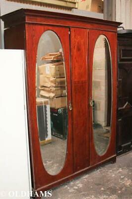 Large Double Victorian Wardrobe - Maple & Co - Oval Mirrors - Inlays