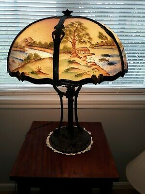 Working Antique 100+ Yr Old Fine Table Lamp W/ Reverse Painted Glass Lampshade