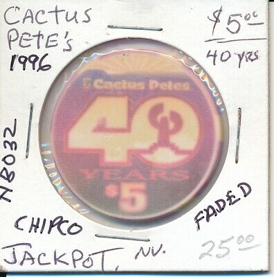 $5 Casino Chip - Cactus Pete's Jackpot, Nv 1996 Chipco (Faded) #N8032 Gaming Tok