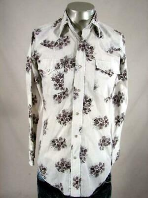 HH2874 VINTAGE 1970s *WESTERN FASHIONS* WHITE FLORAL PATTERN PEARLSNAP SHIRT- 38