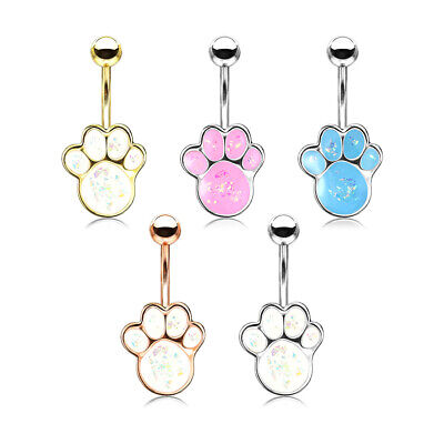 Surgical Steel OPAL Glitter PAW PRINT Belly Bar Navel Piercing Ring 10mm Dog