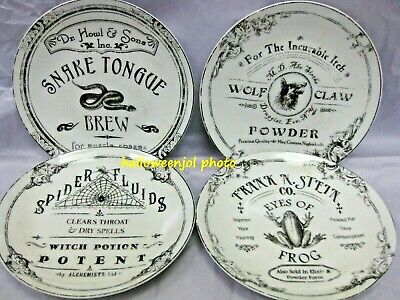 4X 222 Fifth HALLOWEEN Hallow Apothecary Appetizer PLATES Frog Snake Spiderweb