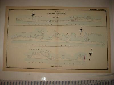 Antique 1915 Fire Island Beach New York Handcolored Dated Map Long Island Rare