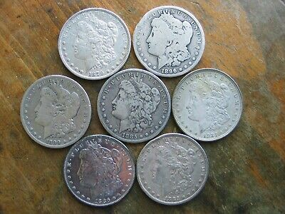 Lot Of 7 Low Grade Cull Morgan Dollars 90 % junk silver coin collection culls