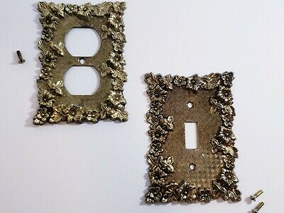 Antique Brass Charm N Style Floral Light Switch Outlet Toggle Cover Set Of Two
