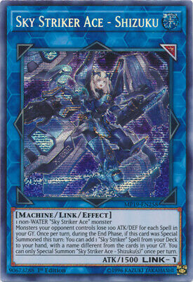 1x (M/NM) Sky Striker Ace - Shizuku - MP19-EN258 - Prismatic Secret Rare - 1st E