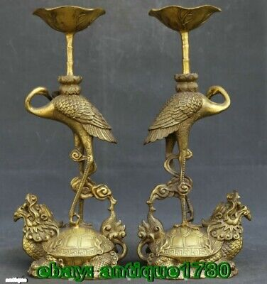 old Bronze Animal Crane Dragon Turtle Candle Holder Candlestick Statue Pair