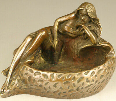 Antique Asian chinese old bronze ashtray lovely woman statue pot