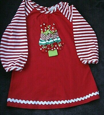 Rare Editions Red White Ribbon Christmas Tree Dress Tunic Top Size 4T