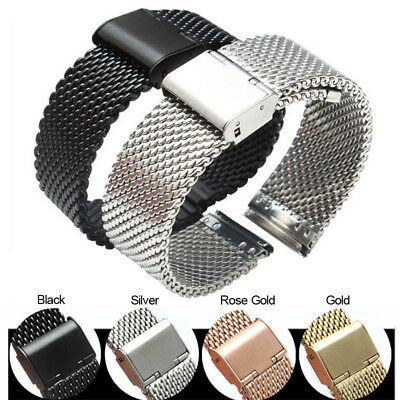 12-22mm Stainless Steel Mesh Watch Band Milanese Link Wrist Strap Metal Clasp