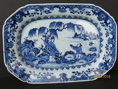 Antique QING DYNASTY Blue White PORCELAIN TRAY