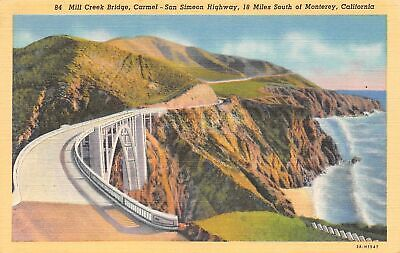 Q24-2360, Mill Creek Bridge, Monterey, Ca., Postcard.