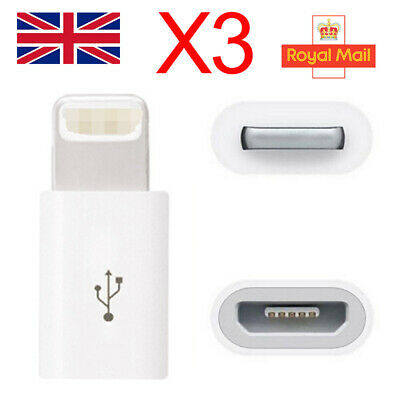 3X Micro USB to Lightning Adapter For Apple iPhone XR SE 6S 7 8 Plus iPod iPad