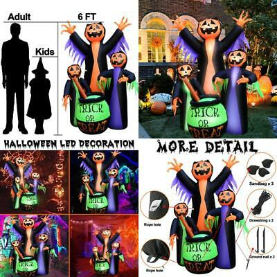 6FT Halloween Pumpkin Witch Outdoor FUN Decorations Inflatable Blowup Yard Decor