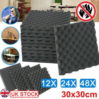 12/48 Acoustic Wall Panels Tiles Studio Sound Proofing Insulation Foam 30x30cm
