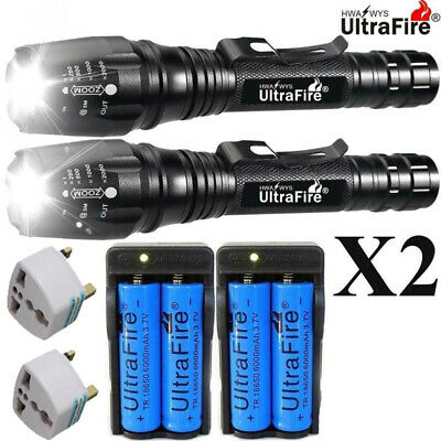 900000LM 5x T6 LED Rechargeable High Power Torch Flashlight Lamp Light & Charger
