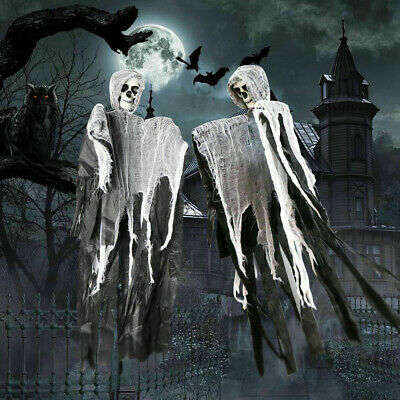 Scary Black Skull Halloween Hanging Ghost Haunted House Grim Reaper Horror Props
