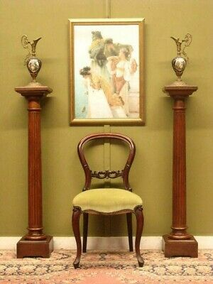 RARE MATCHING PAIR of ANTIQUE FRENCH WALNUT PEDESTALS / DISPLAY STANDS  c1920s