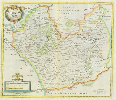 1722 Original Antique Map - LEICESTERSHIRE  by Robert Morden HAND COLOURED